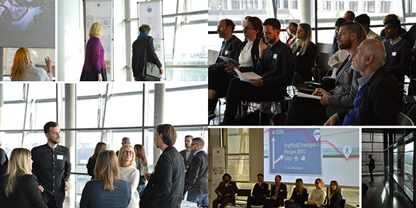 Collage of images of people at the conference. In the ausdience, discussing during break-time, looking at the exhibition panels of the IIID Award.