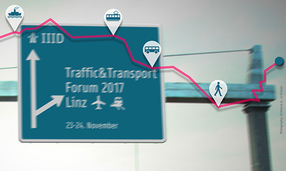 Motorway sign adapted to directions towards IIID and a turnoff towards Traffic & Transport Forum 2017